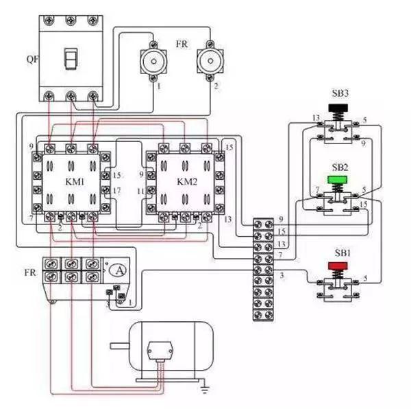 五,电动机的过载保护由热继电器fr完成.