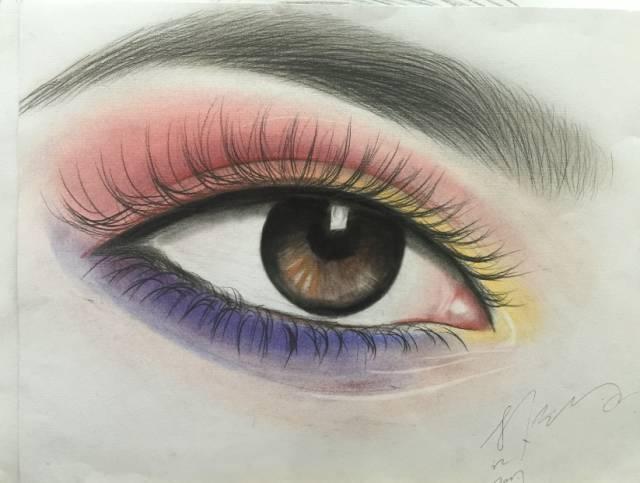 1,美妆素描眼睛的画法 高艺老师:中央美院出身,多年纹绣美学培训经验