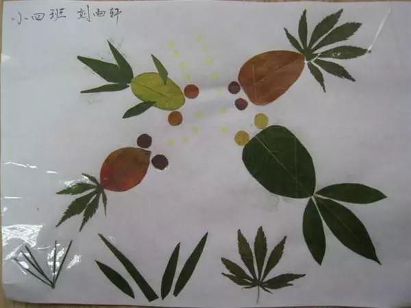 幼儿园树叶粘贴画,环保又有创意
