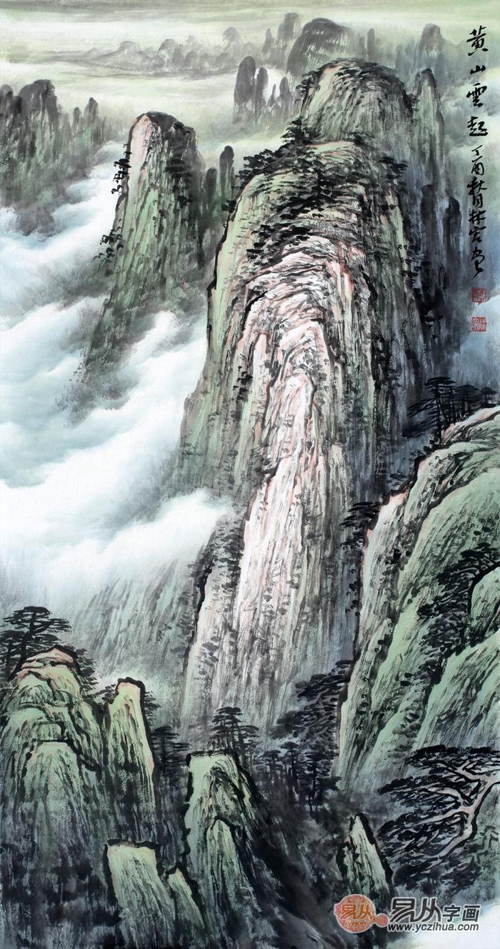 李林宏最新三尺竖幅青绿山水画《黄山云起》