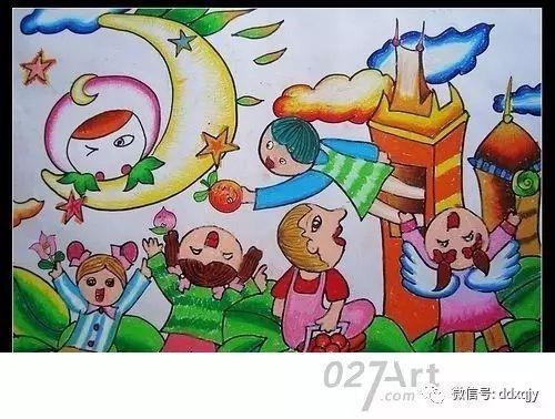幼儿园画中秋节画分享展示图片