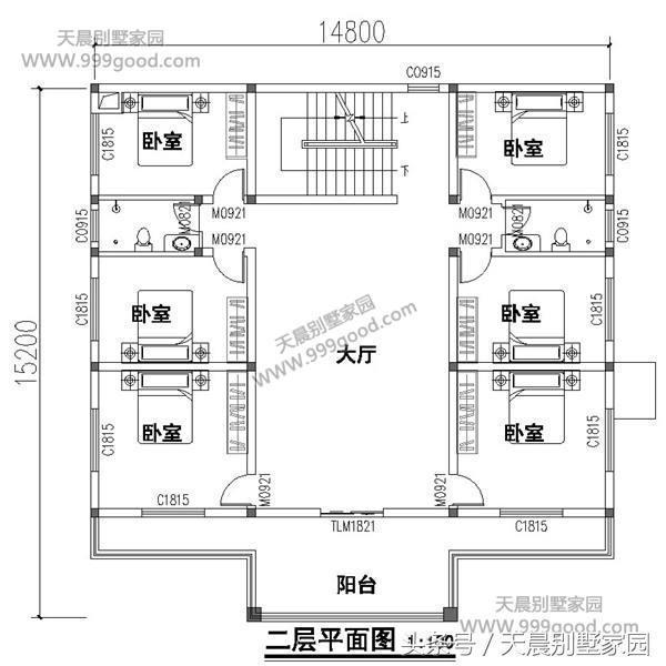 三层别墅设计图:卧室,卫生间,大露台.