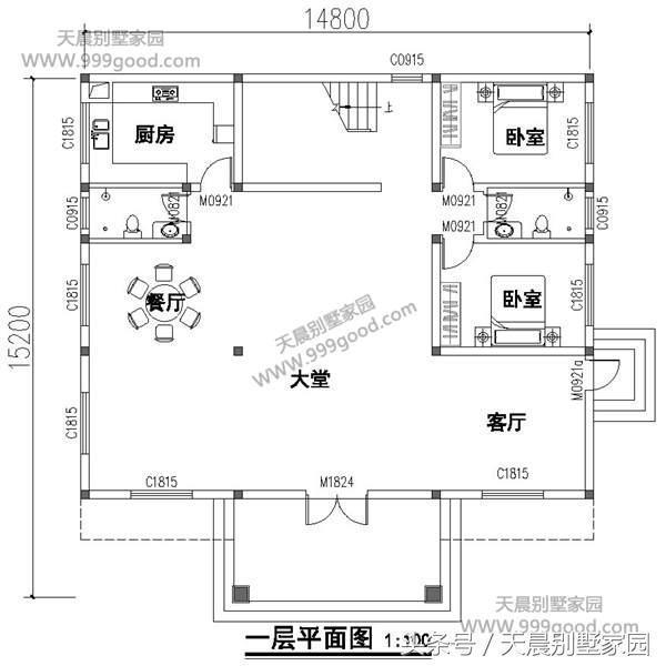 二层别墅设计图:大厅,卫生间,卧室,阳台.