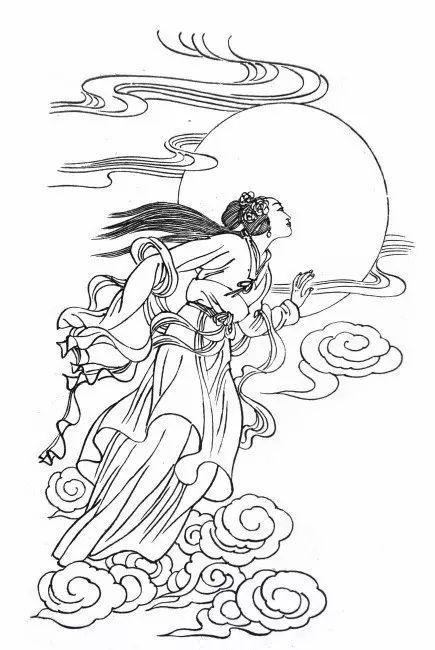 嫦娥奔月简笔画