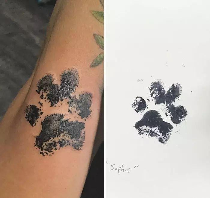 30张能让狗狗永远陪在你身边的脚印纹身,可爱到爆!