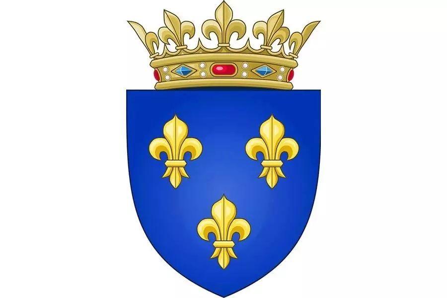 中世纪法国王室徽章,黄色图案是法国国花鸢尾花,锋利的枪头造型象征图片