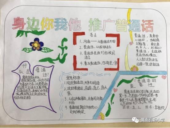 """推广普通话 共筑中国梦 -------- 高新小学""""推普""""手抄报展示"""