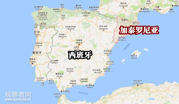 (加泰罗尼亚位置,图源:谷歌地图)