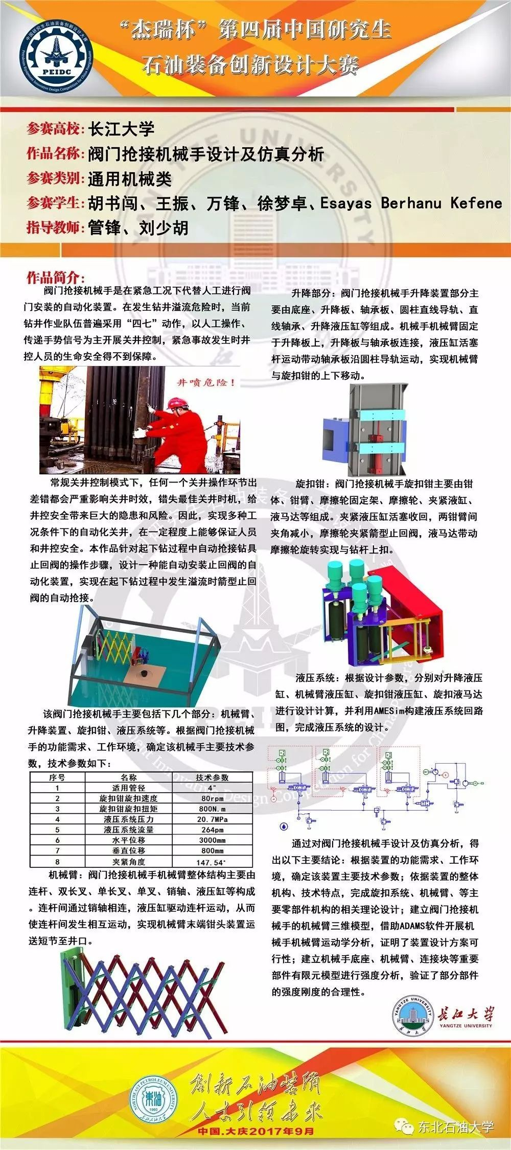 (注:排名不分先后,按照首字母顺序排列) 长江大学-阀门抢接机械手设计图片