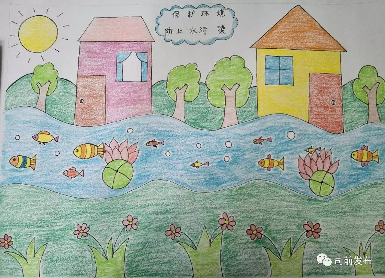 司前王张瑞霞小学参加区环保绘画比赛,各位在欣赏作品
