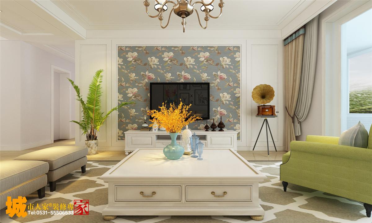 影视墙的造型简洁现代,石膏线和壁纸的搭配让整个空间更和谐,阳台设计