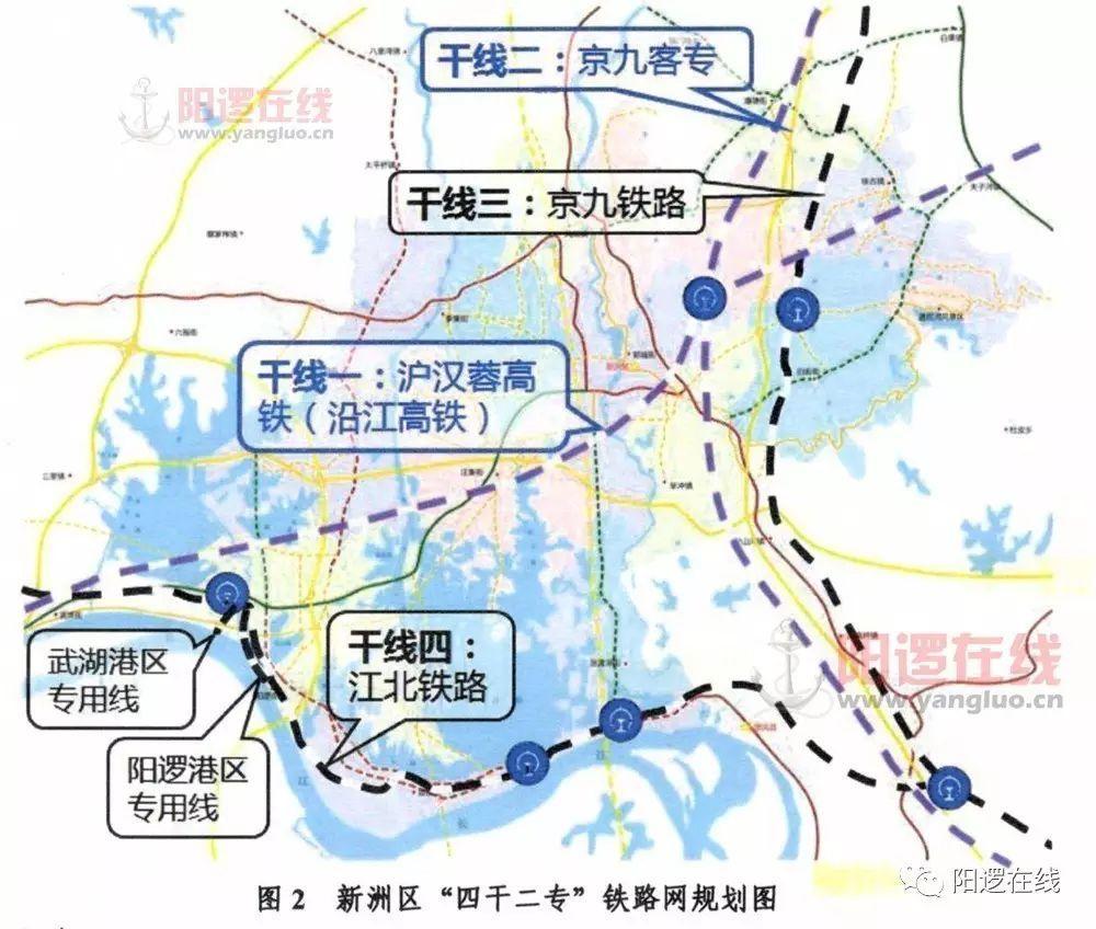 干线一:沪汉蓉高速铁路(沿江高铁) 干线二:京九客专(规划铁路) 干线