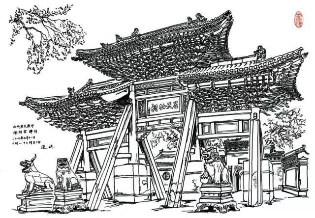 中国古建筑最美的两个部分, 造型和斗拱结构, 都能在这样的刻画中