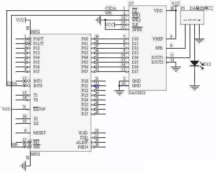 dac0832与单片机连接图