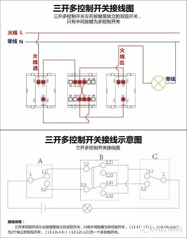 单控,双控,三控开关接线图和电路图原理,从此接线不再有压力!