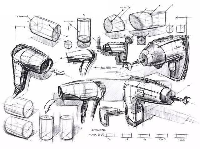 手绘教程 | 产品手绘中的线和体