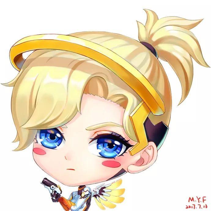守望先锋少女风q版头像,金发天使姐姐小手枪巨可爱!