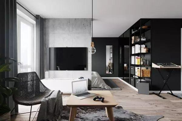 让卧室空间称为一个隔而不离的空间,水泥墙体的电视背景墙,承担了灰色图片