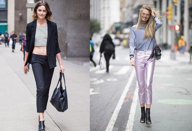 九分裤+短靴 秋天模特出街标准搭配 想要模特身材的赶紧准备
