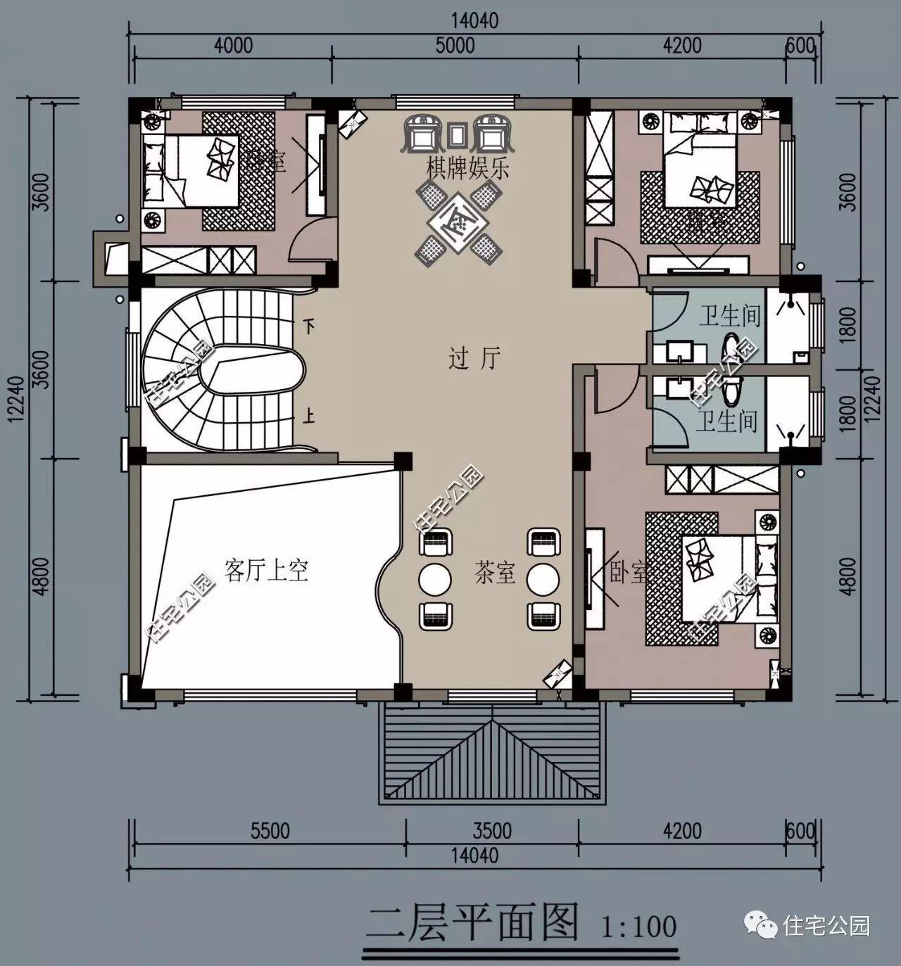 旋转楼梯挑空客厅,14x14米独立欧式别墅(全图 预算 视频展示)