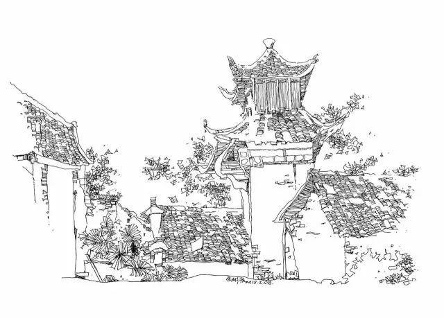 宁夏特色建筑手绘