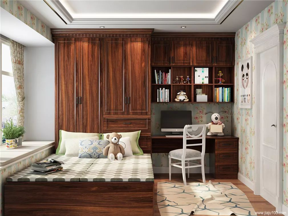 红檀木面板更有贵族气质, 榻榻米床,书桌柜,衣柜一体设计, 小空间利用