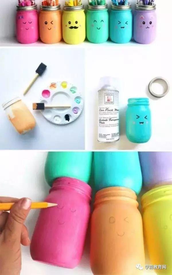 当然,还需要一些创意的小心思了:) 瓶内刷上丙烯颜料,待颜料干后, 画图片