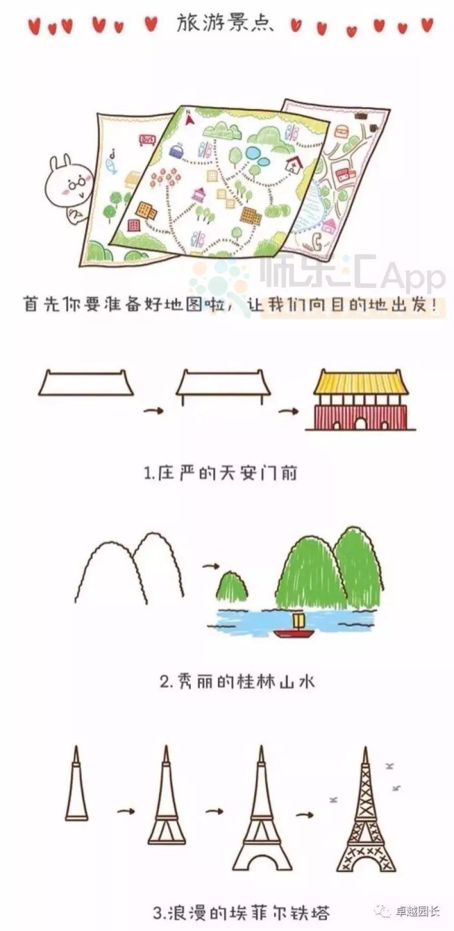 旅游景点 中外建筑简笔画