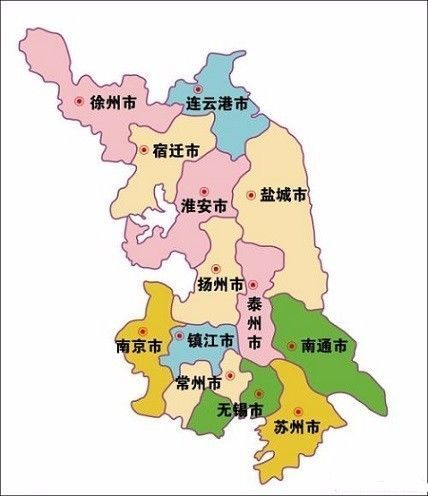 将南京,镇江与苏州,无锡,常州一起纳入苏南板块,将长江以北的南通