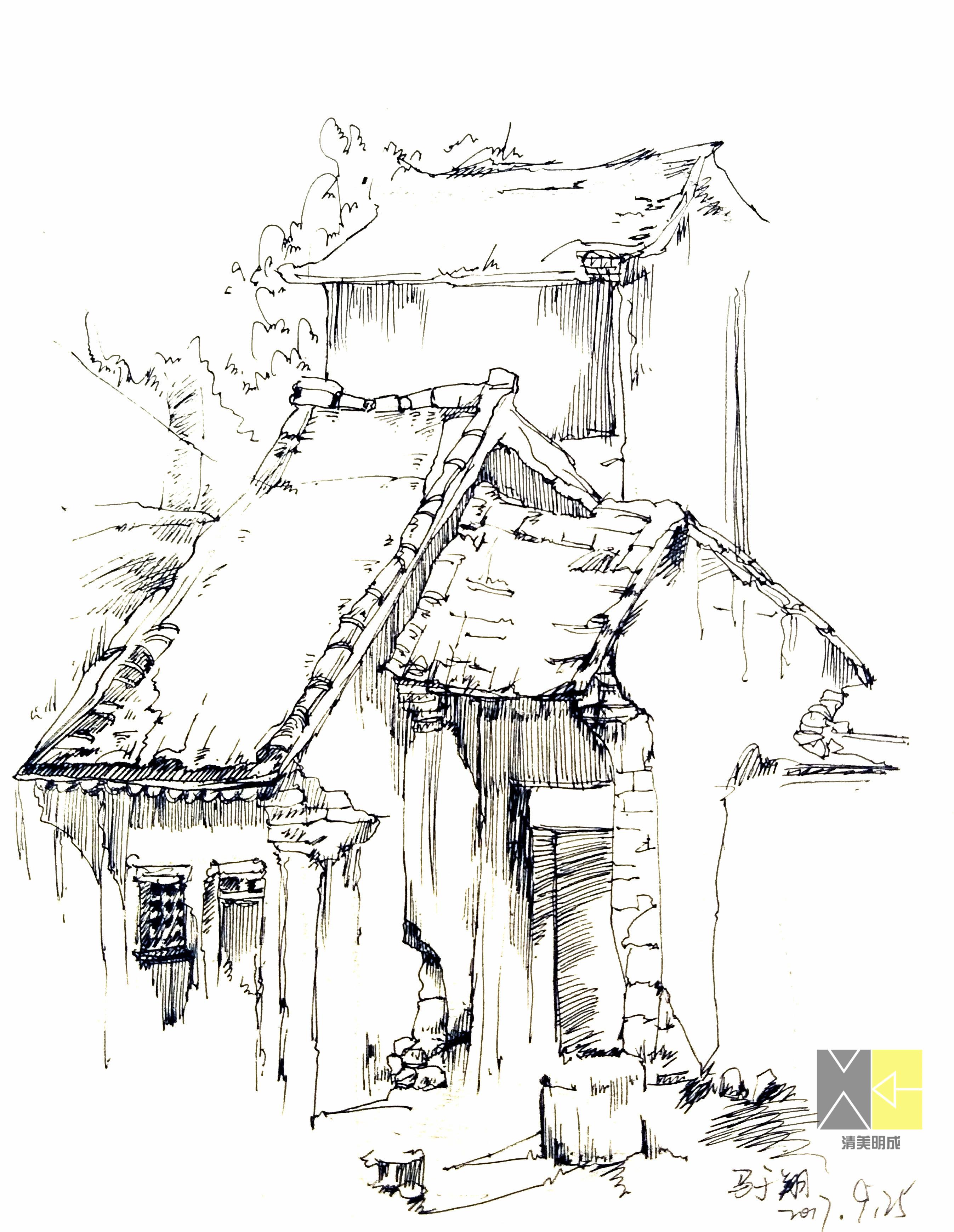 【写生季】清美明成-灵水村上山下乡速写风景写生作品
