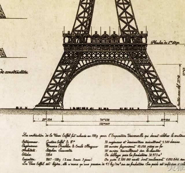 著名建筑师,结构工程师古斯塔夫·埃菲尔 在结构设计上采用了三角形的图片