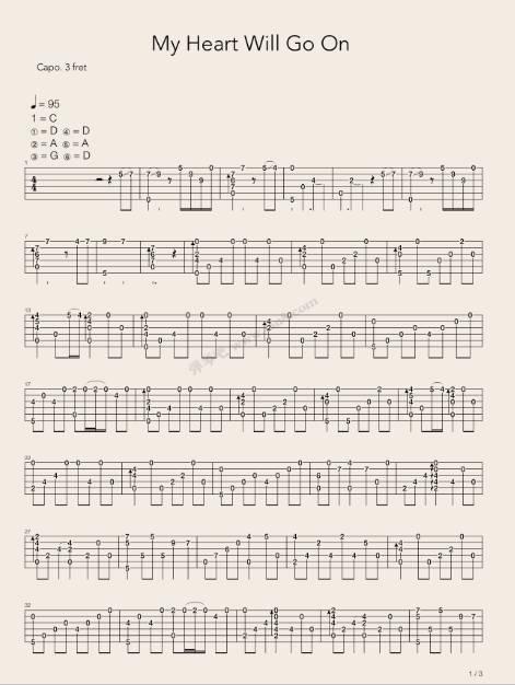 吉他指弹泰坦尼克号主题曲 《my heart will go on》,经典依旧!