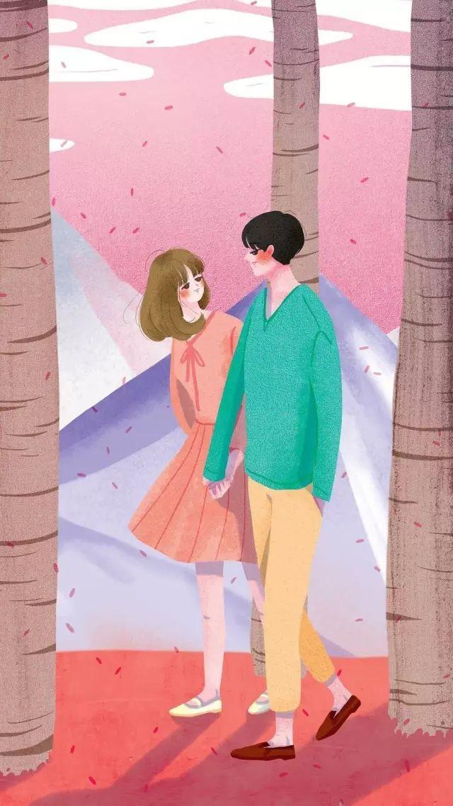 【情侣】手绘情侣插画手机壁纸