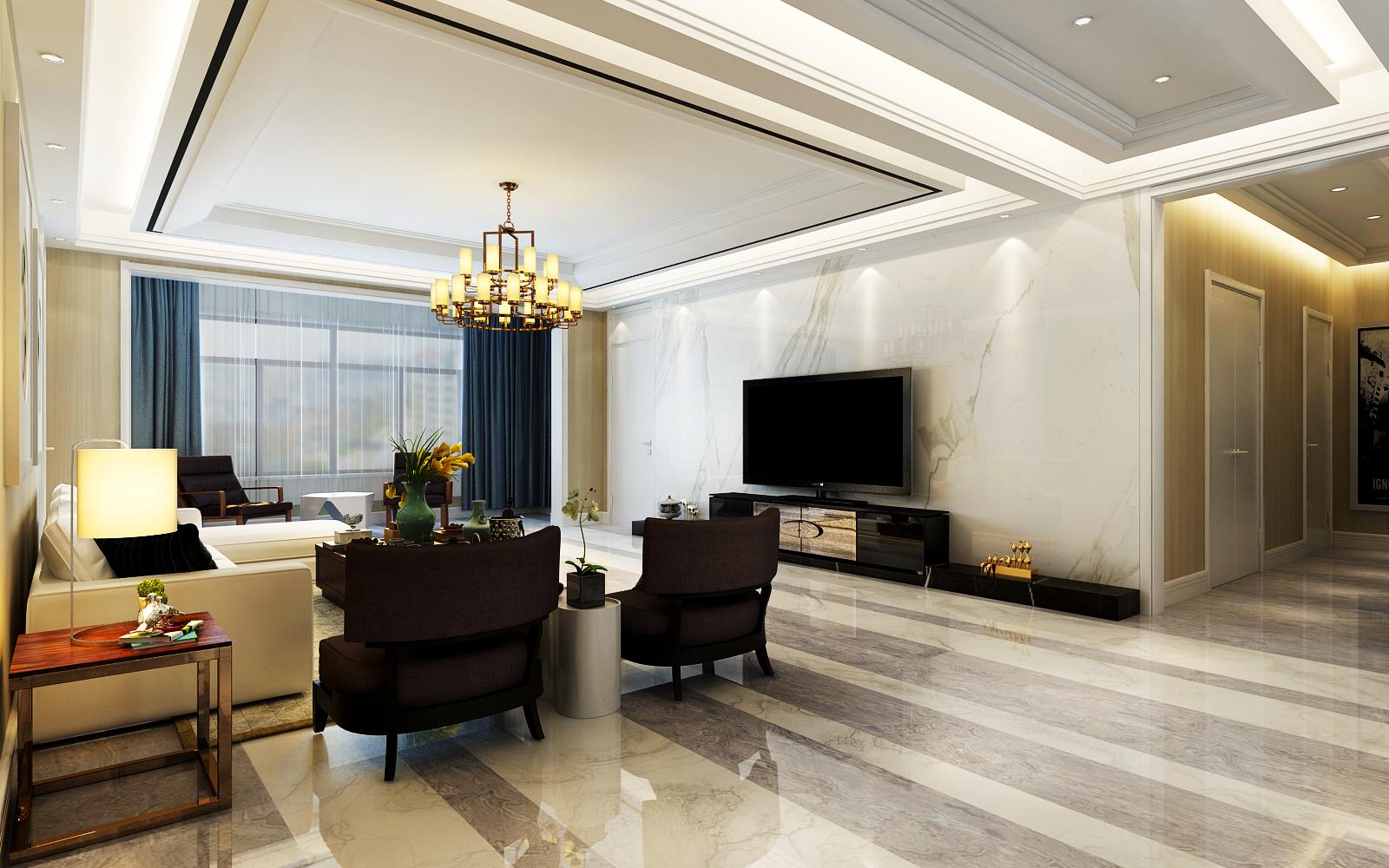 客厅电视背景墙采用浅色理石装饰,搭配黑色电视柜,整体高端大气图片