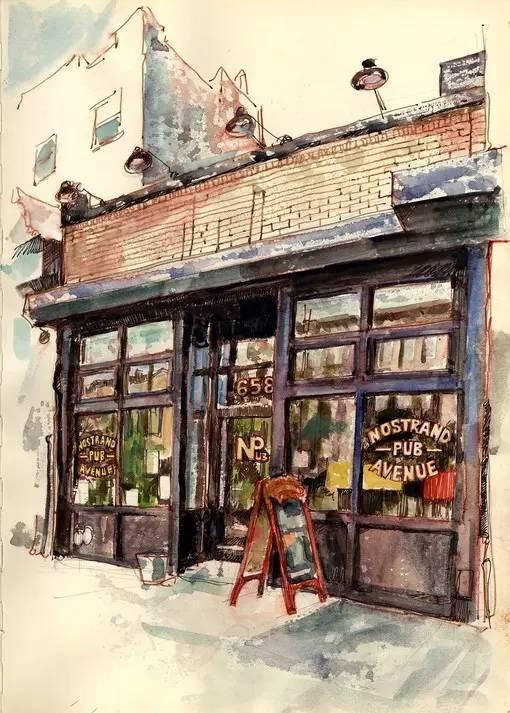 水彩和马克笔手绘酒吧