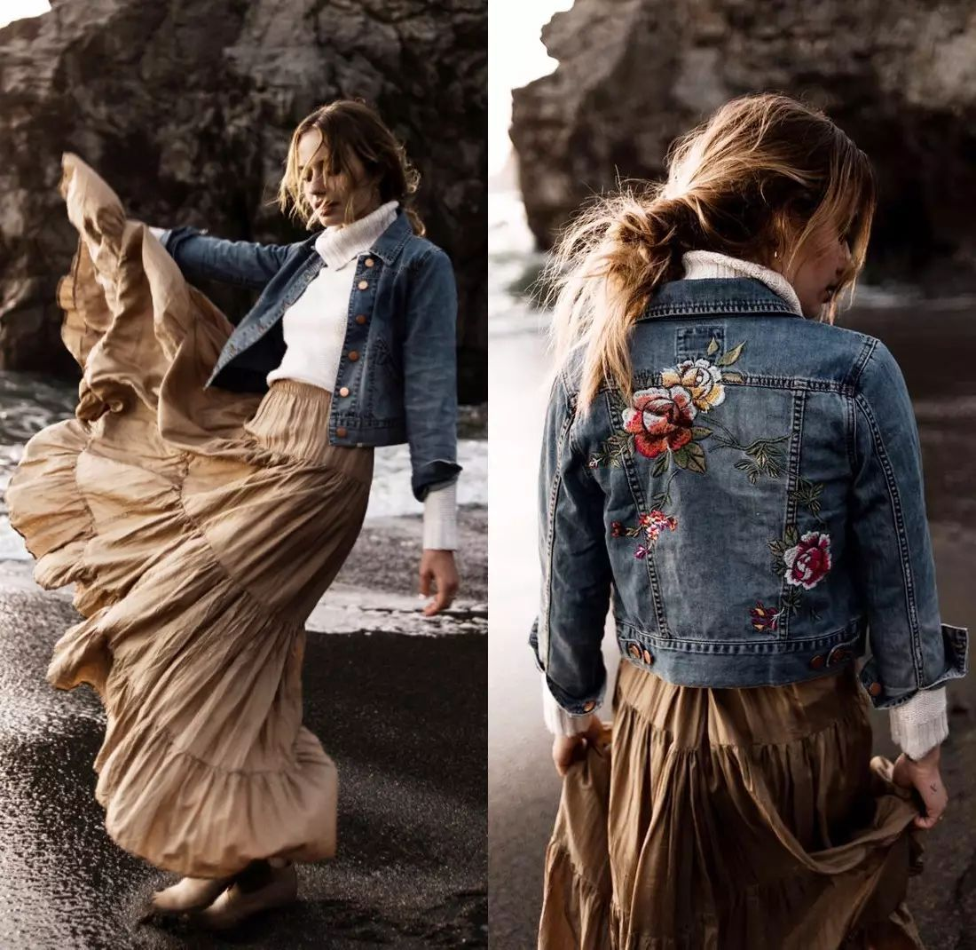 牛仔+刺绣帅到没朋友,简单外套穿出百变造型! 24