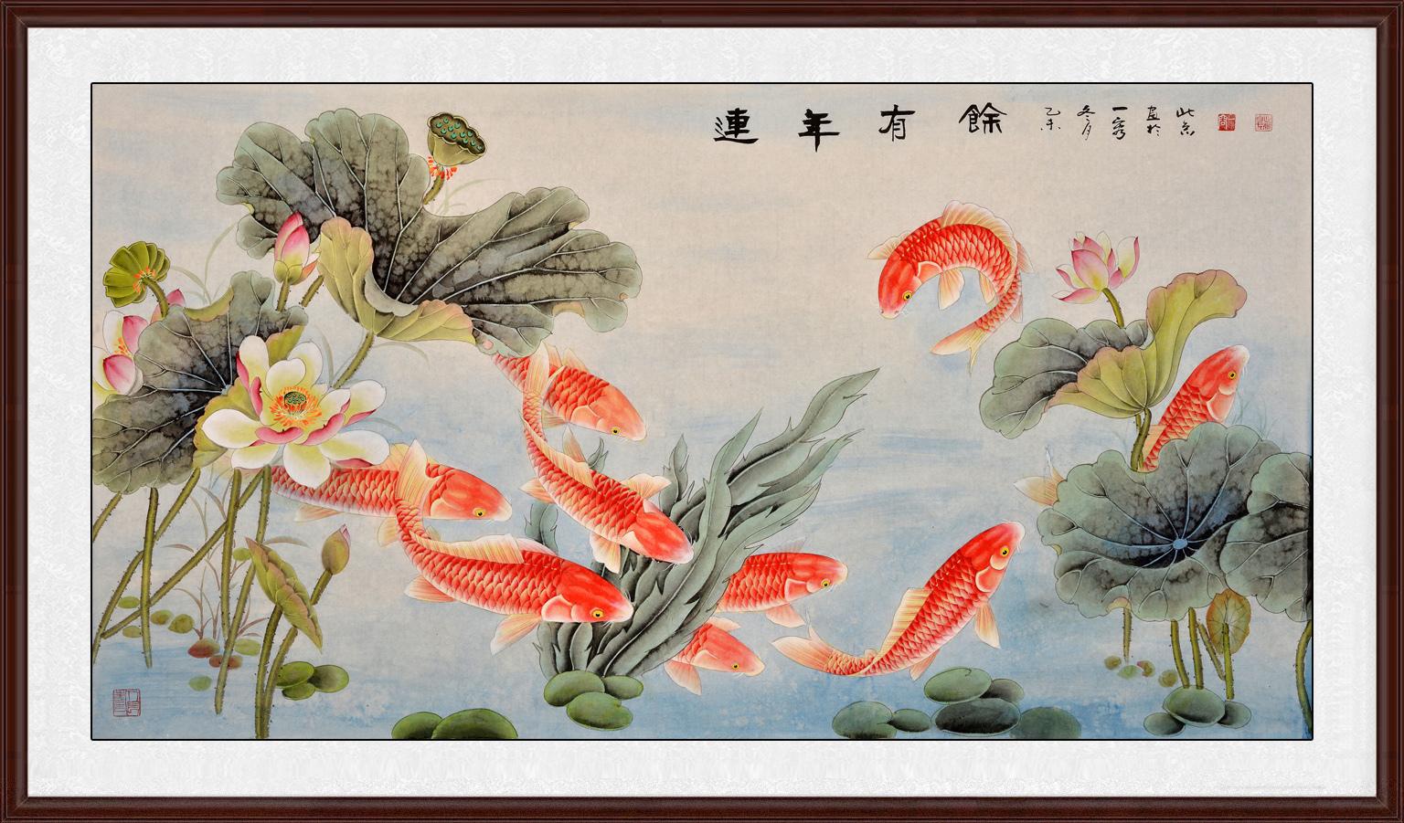 九鱼图 王一容花鸟画作品荷花鲤鱼图《连年有余》作品出自:易从网