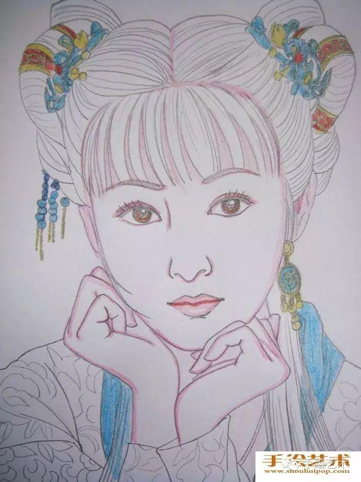【手绘作品教程】美女人物彩铅画教程:中国古典美女头像彩色铅笔画图片