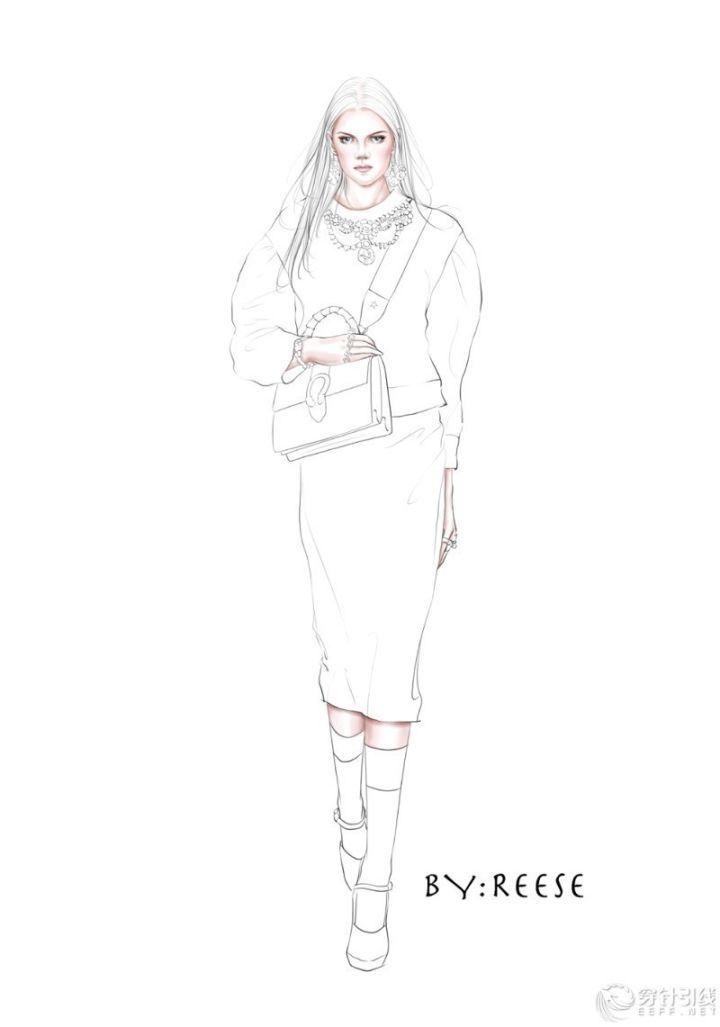 时装手绘 | gucci电脑效果图,条纹与针织面料表现