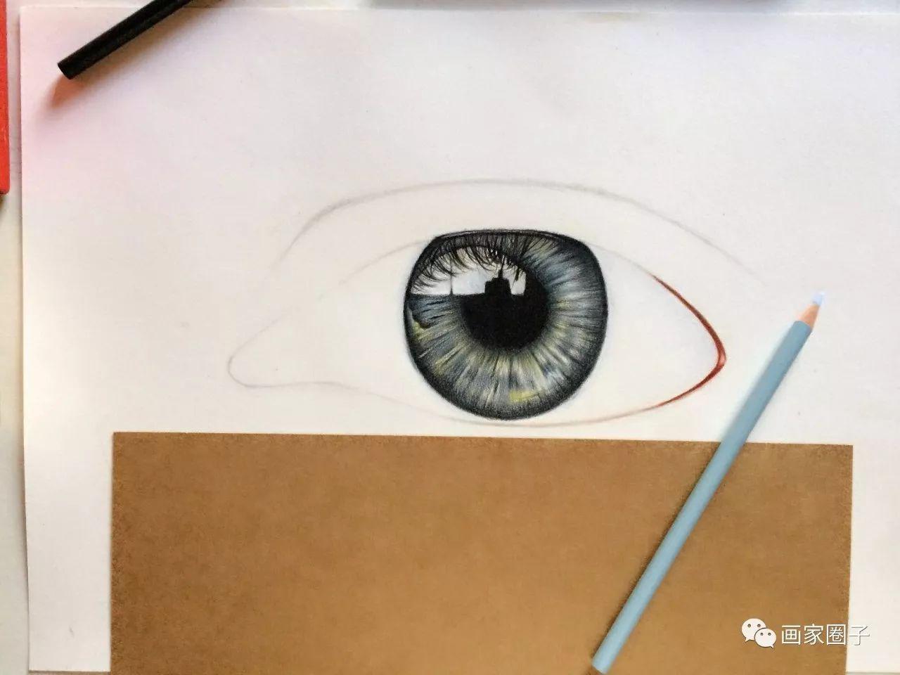 【画家圈子】欧雅:彩铅手绘教学, 眼睛特写