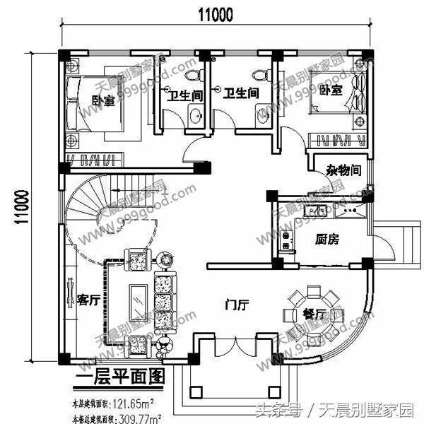 农村11x11米三层别墅,露台和旋转楼梯还原农村别墅的生活!