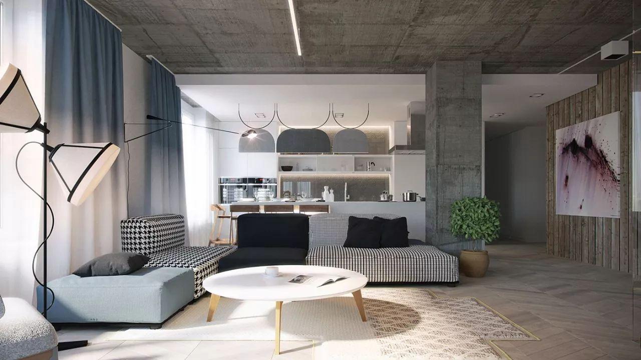 工业风,客厅不做吊顶,裸露的水泥顶,有品位!