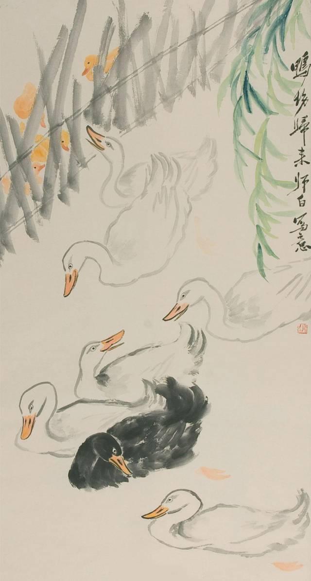 师傅画虾,我画小鸭,娄师白笔下的小鸭子越看越可爱图片