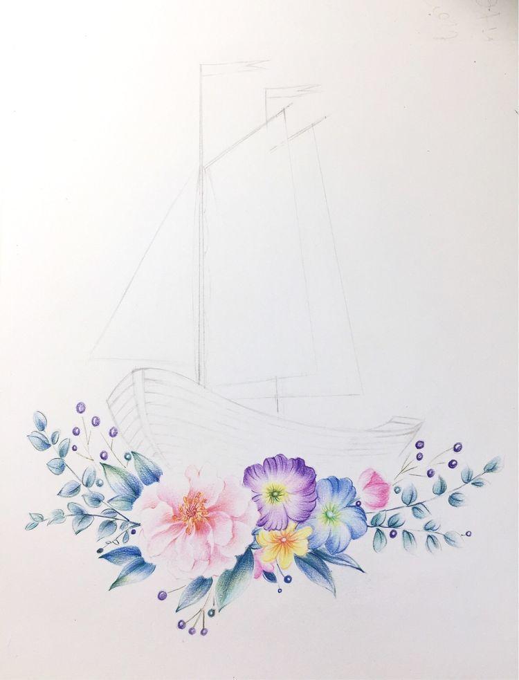 这个国庆,坐 卡卡西号 花船带你出去浪,彩铅手绘教程