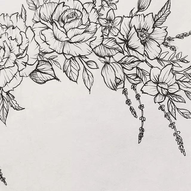 """【针管笔手绘】这""""花""""的线条和调子也是没谁了!"""