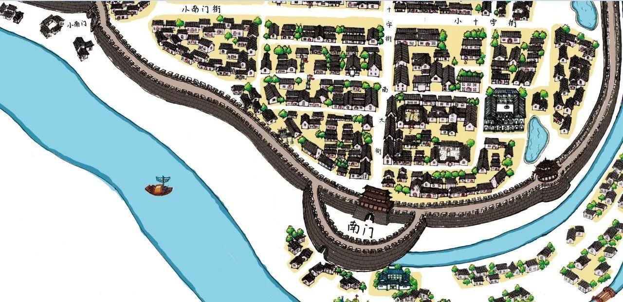 信阳古城手绘地图南门附近