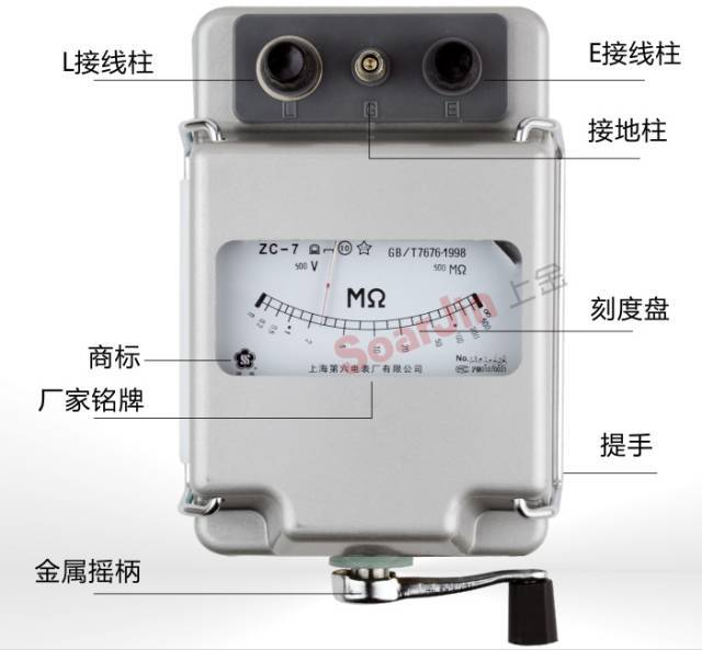 科技 正文  兆欧表:给被测设备加直流电压,通过流经设备的泄漏电流