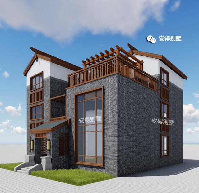 低造价建农村三层新中式别墅,青砖白漆稳重大气