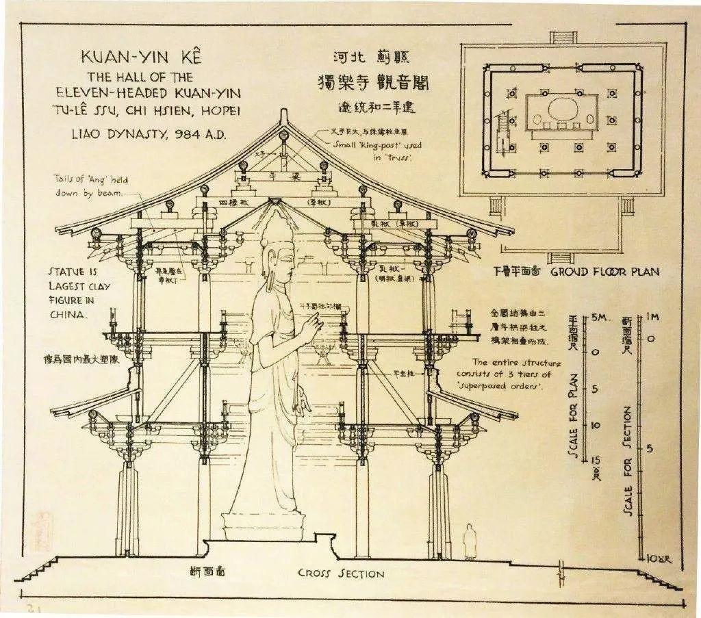 品图,梁思成先生的手绘古建筑图