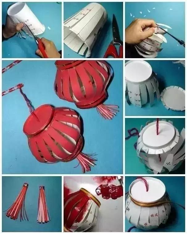 下面是几种中秋灯笼的制作方法: 牛奶盒灯笼 祝大家中秋快乐!图片